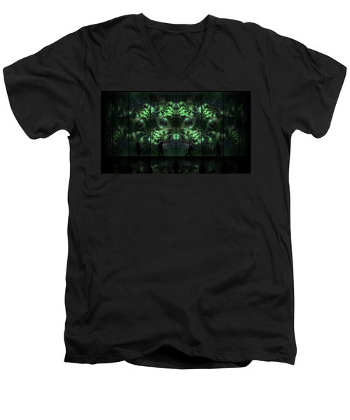 Men's V-Neck T-Shirt featuring the digital art Cosmic Alien Vixens Green by Shawn Dall