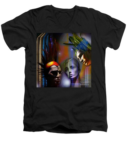 Men's V-Neck T-Shirt featuring the digital art Cosmic Mannequins Triad by Rosa Cobos