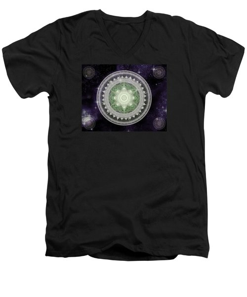 Cosmic Medallions Earth Men's V-Neck T-Shirt by Shawn Dall