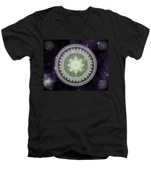 Men's V-Neck T-Shirt featuring the digital art Cosmic Medallions Earth by Shawn Dall