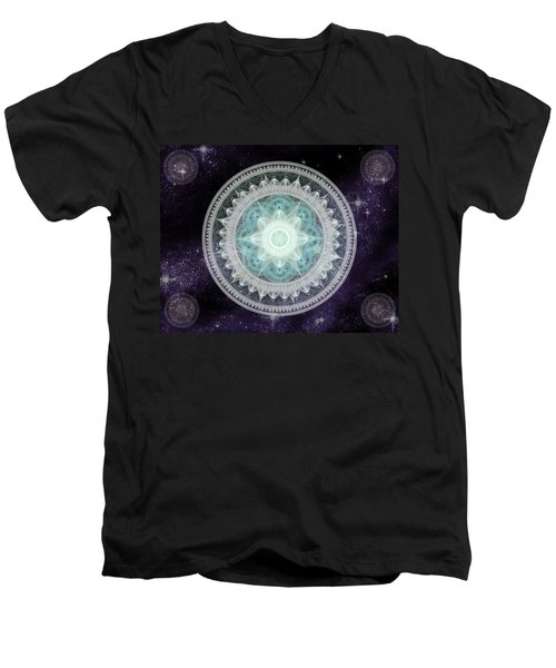Men's V-Neck T-Shirt featuring the digital art Cosmic Medallions Water by Shawn Dall