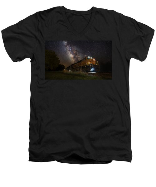 Cosmic Railroad Men's V-Neck T-Shirt