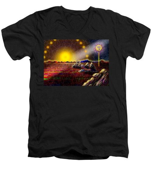 Cosmic Signpost Men's V-Neck T-Shirt by Melinda Fawver