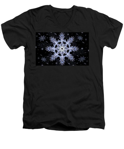 Cosmic Snowflakes Men's V-Neck T-Shirt by Shawn Dall