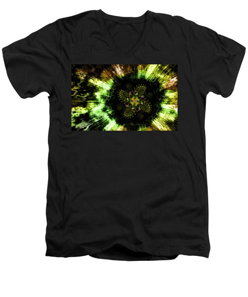 Men's V-Neck T-Shirt featuring the digital art Cosmic Solar Flower Fern Flare by Shawn Dall