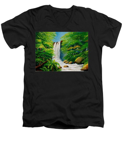 Costa Rica Waterfall Men's V-Neck T-Shirt