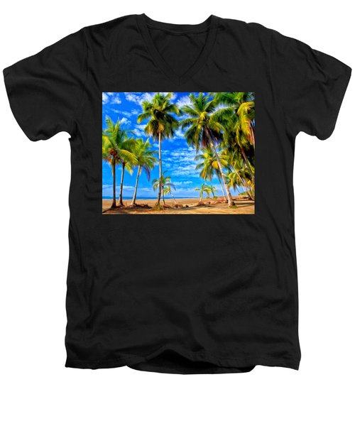 Costa Rican Paradise Men's V-Neck T-Shirt by Michael Pickett