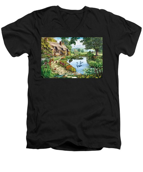 Cottage By The Lake Men's V-Neck T-Shirt by Steve Crisp