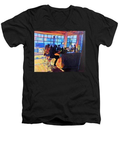 Counterpoint Men's V-Neck T-Shirt by Bonnie Lambert