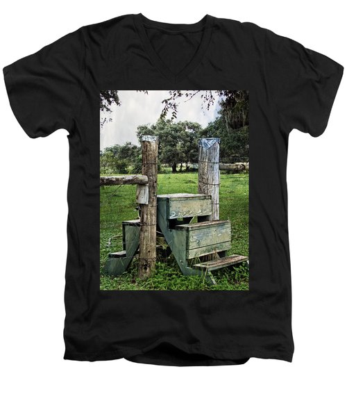 Men's V-Neck T-Shirt featuring the photograph Country Farm Fence Stile Crossing by Ella Kaye Dickey