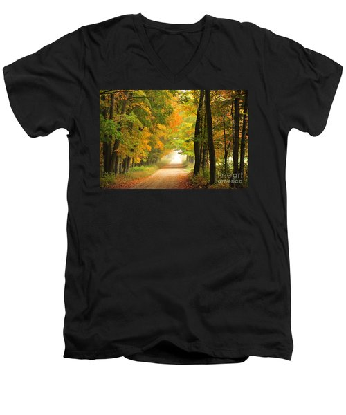 Men's V-Neck T-Shirt featuring the photograph Country Road In Autumn by Terri Gostola
