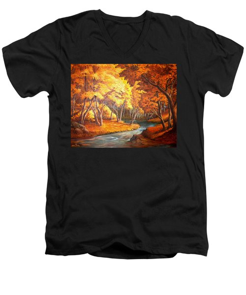 Country Stream In The Fall Men's V-Neck T-Shirt by Loxi Sibley