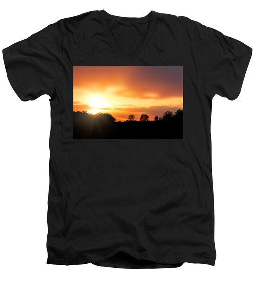 Country Sunset Silhouette Men's V-Neck T-Shirt