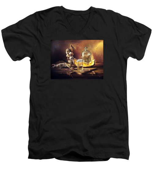 Men's V-Neck T-Shirt featuring the painting Countryside Still Life 2 by Mikhail Savchenko