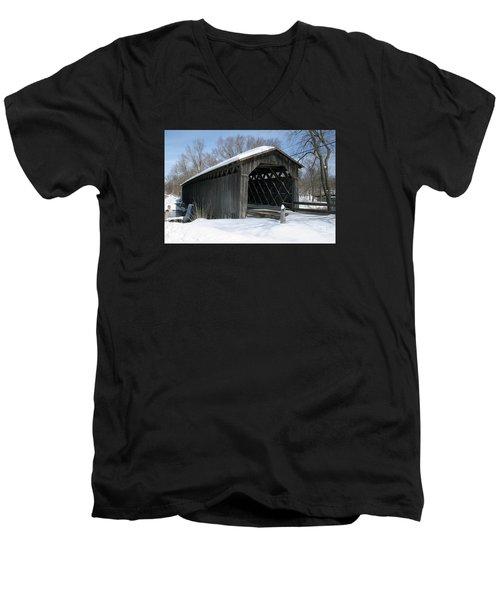 Covered Bridge In Winter Men's V-Neck T-Shirt