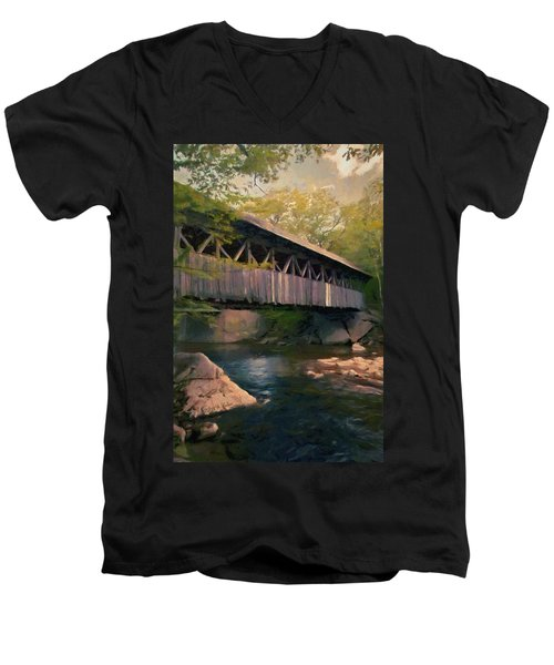 Men's V-Neck T-Shirt featuring the painting Covered Bridge by Jeff Kolker