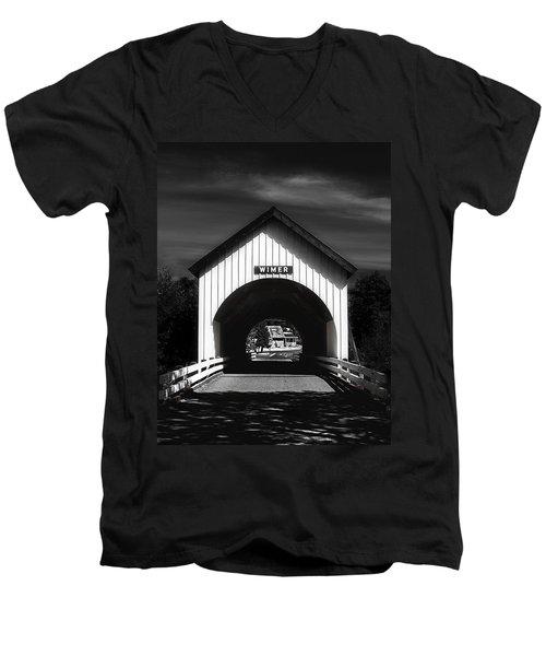 Covered Bridge Men's V-Neck T-Shirt by Melanie Lankford Photography