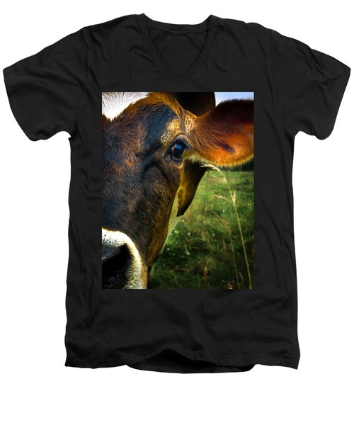 Cow Eating Grass Men's V-Neck T-Shirt by Bob Orsillo