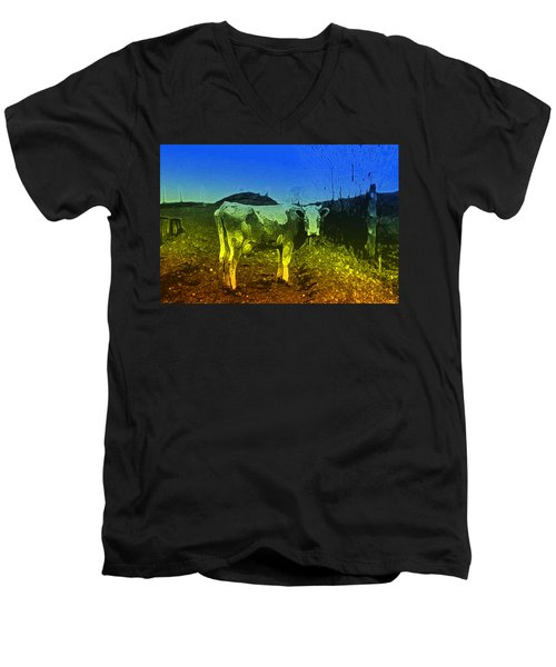 Men's V-Neck T-Shirt featuring the digital art Cow On Lsd by Cathy Anderson