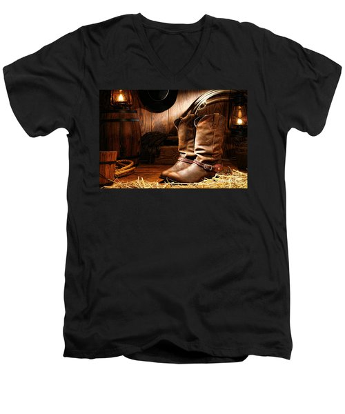 Cowboy Boots In A Ranch Barn Men's V-Neck T-Shirt