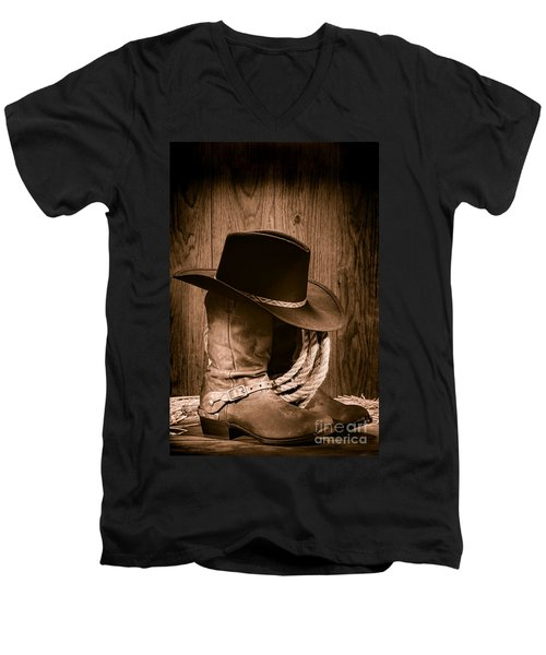 Cowboy Hat And Boots Men's V-Neck T-Shirt