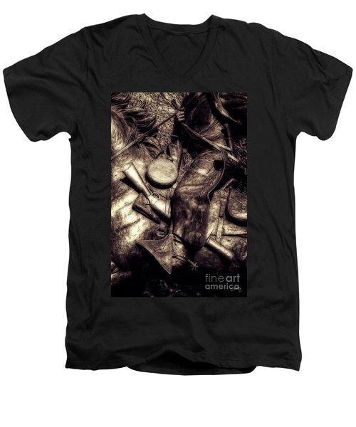 Cowboy In Bronze Men's V-Neck T-Shirt