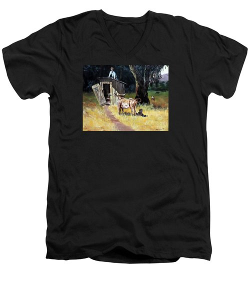 Cowboy On The Outhouse  Men's V-Neck T-Shirt by Lee Piper
