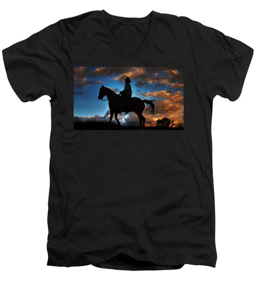 Men's V-Neck T-Shirt featuring the photograph Cowboy Silhouette by Ken Smith