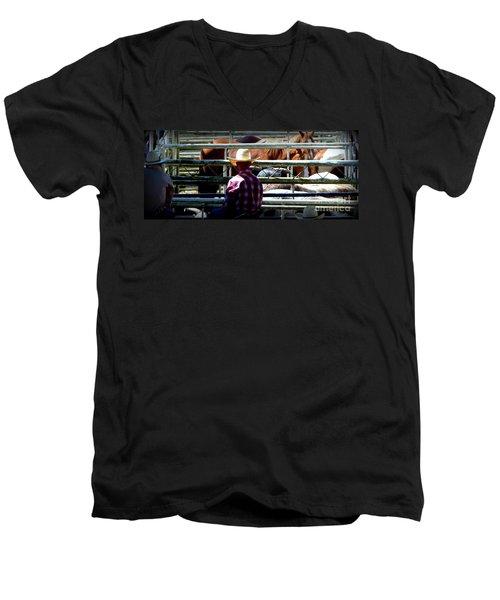 Cowboys Corral Men's V-Neck T-Shirt by Susan Garren