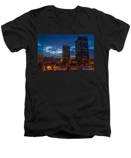 Cowtown At Night Men's V-Neck T-Shirt