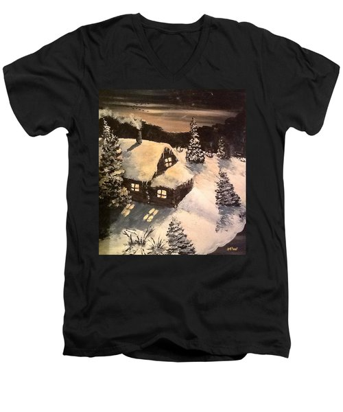 Men's V-Neck T-Shirt featuring the painting Cozy Cabin by Megan Walsh