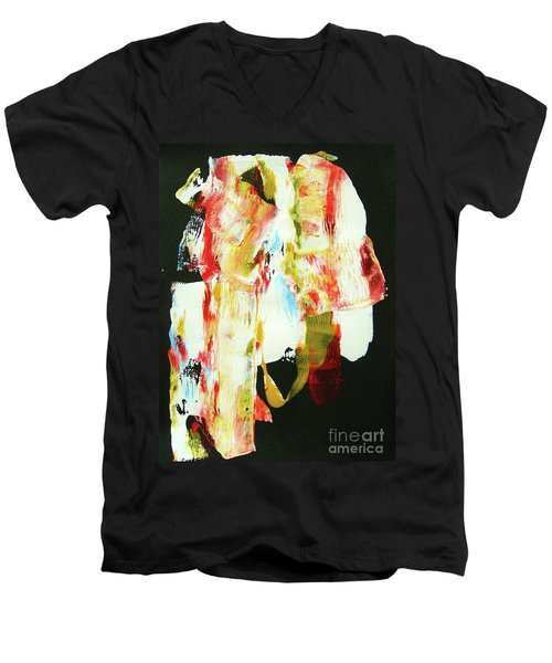 Men's V-Neck T-Shirt featuring the painting Crazy Horse  An American Hero by Roberto Prusso