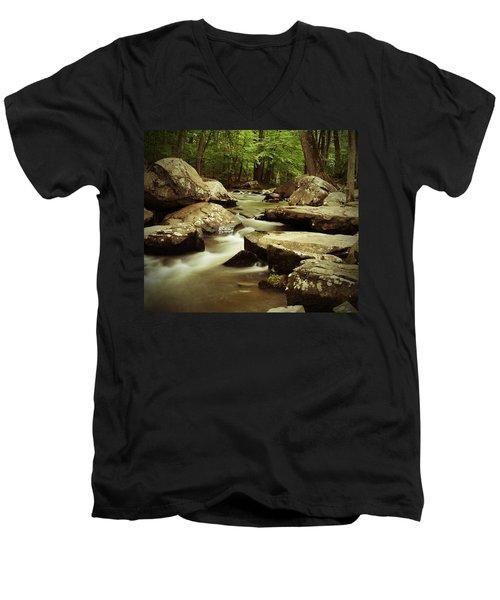 Creek At St. Peters Men's V-Neck T-Shirt by Michael Porchik