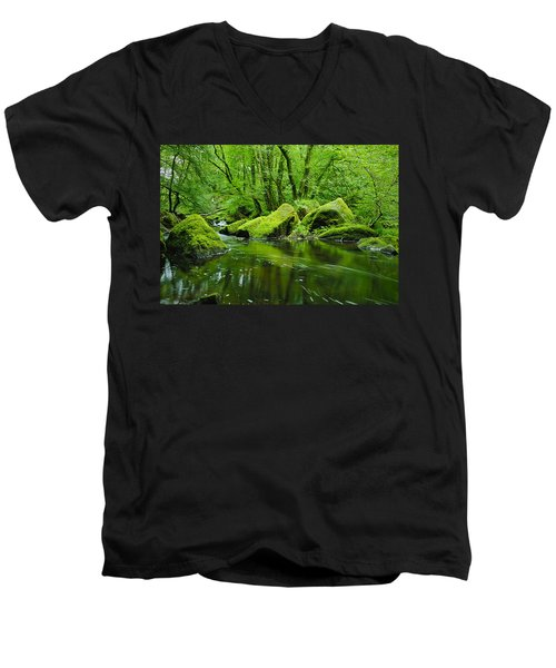 Creek In The Woods Men's V-Neck T-Shirt by Chevy Fleet