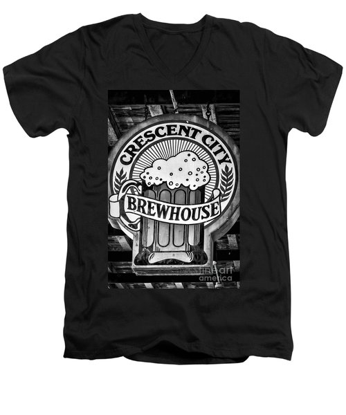 Crescent City Brewhouse - Bw Men's V-Neck T-Shirt by Kathleen K Parker