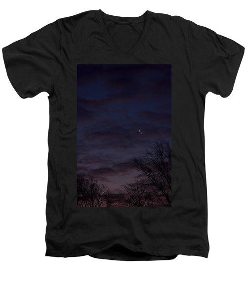 Crescent Moon And Venus Rising Men's V-Neck T-Shirt