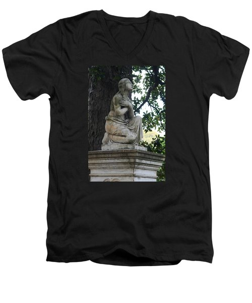 Men's V-Neck T-Shirt featuring the photograph I Cross My Heart Angel by Lesa Fine
