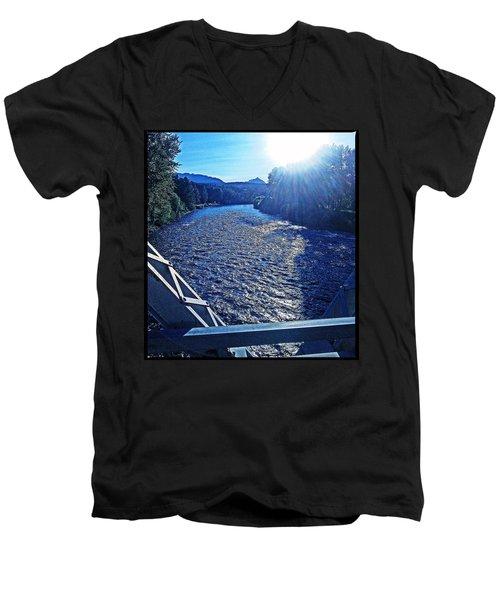 Men's V-Neck T-Shirt featuring the photograph Crossing The Final Bridge Home by Joseph J Stevens