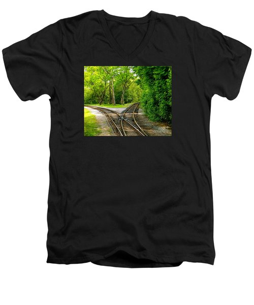 Men's V-Neck T-Shirt featuring the photograph Crossing The Lines by Joy Hardee