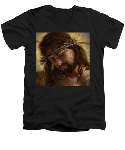 Crown Of Thorns Glass Mosaic Men's V-Neck T-Shirt
