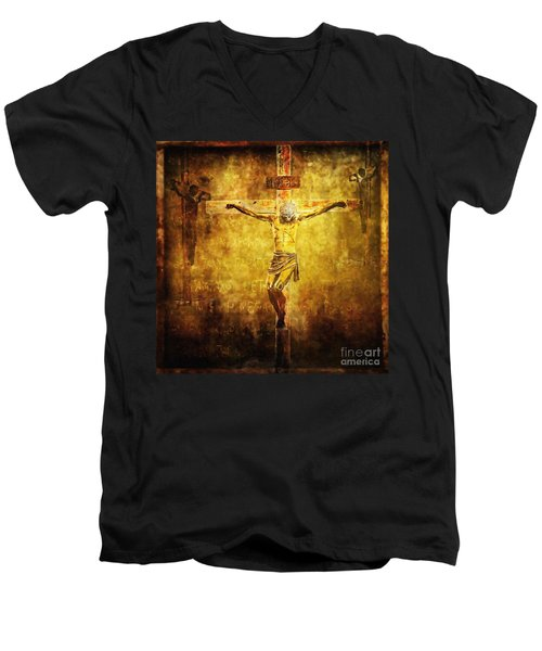 Crucified Via Dolorosa 12 Men's V-Neck T-Shirt by Lianne Schneider