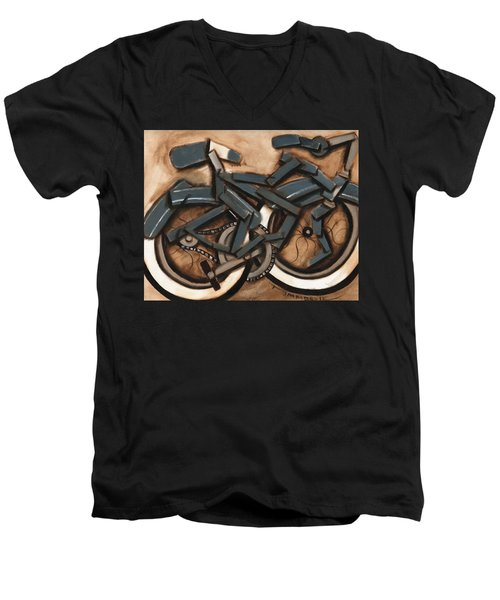 Abstract Blue Cruiser Bicycle Art Print Men's V-Neck T-Shirt
