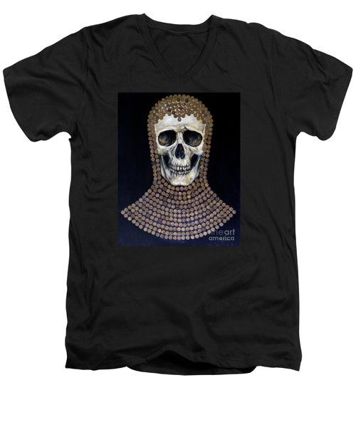 Men's V-Neck T-Shirt featuring the painting Crusader by Arturas Slapsys