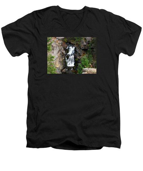 Crystal Falls Men's V-Neck T-Shirt by Greg Patzer