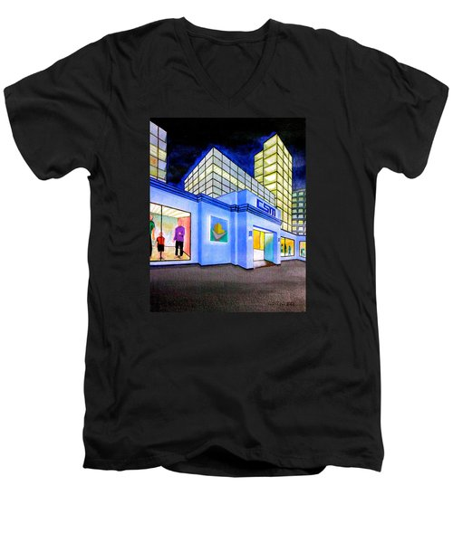 Men's V-Neck T-Shirt featuring the painting Csm Mall by Cyril Maza