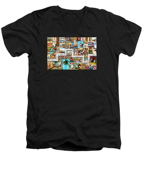 Men's V-Neck T-Shirt featuring the painting Cubana by Joseph Sonday