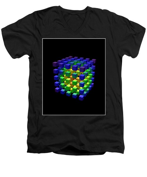 Men's V-Neck T-Shirt featuring the digital art Cube Of Cubes... by Tim Fillingim