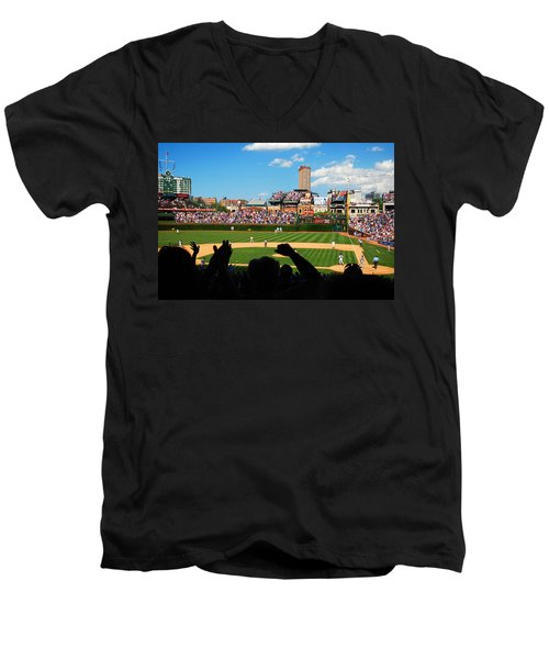 Cubs Win Men's V-Neck T-Shirt by James Kirkikis