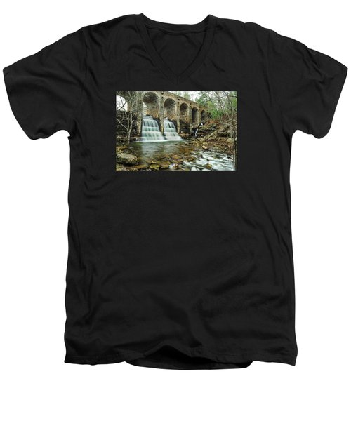 Cumberland Waterfall Men's V-Neck T-Shirt by Debbie Green