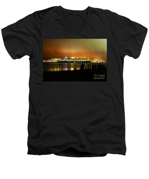 Men's V-Neck T-Shirt featuring the photograph Cunard's 3 Queens by Terri Waters